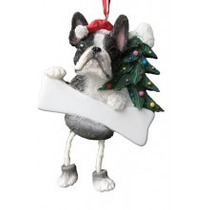 Adorno Navideño Patitas Colgantes Boston Terrier - Ceramica