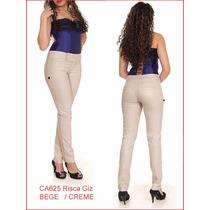 Calça Feminina Social Bege Risca Giz 625 Temos Preta Brancas
