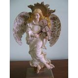 Estatueta De Anjo Tocando Violino Em Pedestal Baixo - 22 Cm