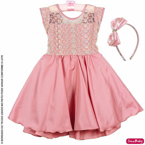 Vestido Infantil Daminha Rose Luxo Princesa Formatura Tiara