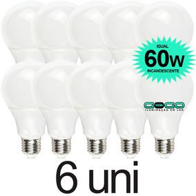 Kit 6 Lampada Bulbo 7w Led A60 Bivolt 3u 4u Econômica E27
