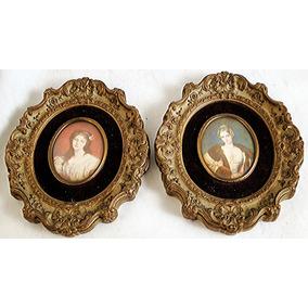 Antiguo Par De Cuadros Miniaturas Eeuu Pastel S/ Papel