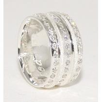 Pé De Aliança De Prata 950k Grossas10mm Diamantado Pedras
