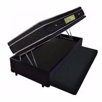 Cama Box Bau Solteiro Com Auxiliar + Colchão Molas