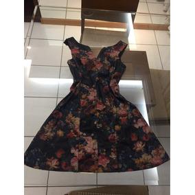 Vestido Curto Couro Falso Florido Floral Fashion Romântica