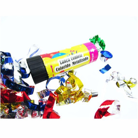 24 Lança Confete Colorido Metalizado Animaçao Festa Infantil