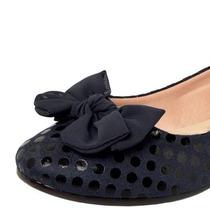 Sapato Sapatilha Moleca Confortável Laço Azul Marinho Preto