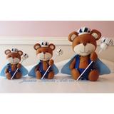 Trio De Ursinhos Reizinho / Principe Marrom Em Feltro - Pmg