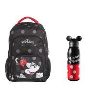 Kit Mochila G + Garrafa Aço Minnie Mouse Vintage - 60143