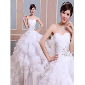 Vestido De Novia Strapless Corazon Blanco Nieve Romantico