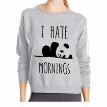 Moletom Blusa De Frio Casaco Careca I Hate Mornings Panda