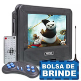 Dvd Portatil Tv 7 Sd Usb Fm Mp3 Bolsa Infantil Assista Carro