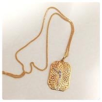 Corrente Epingente Medalha Com Cristo Joia Ouro Amarelo 18k