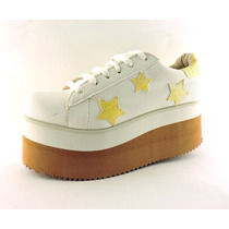 Zapatillas Plataforma Taco Alto Goma Estrellas Color Oferta
