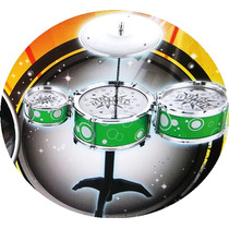 Bateria Musical Infantil Jazz Drum Verde Vivo Tom Cromado