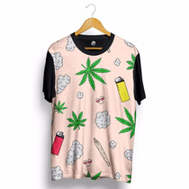 Camisa Marijuana Fino Ganja Fogo Fumaça Blusa Thug Life Rap