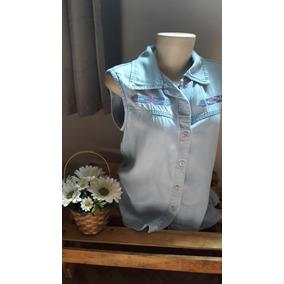 Blusa Jeans 38 Bordada