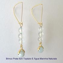 Brinco Prata 925 Topázio E Água Marinha Naturais 5089