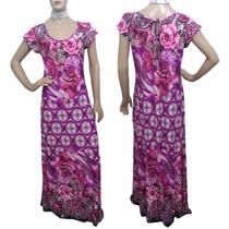 Vestido De Liganete Longo Estampa Floral