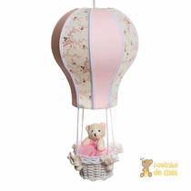Lustre Balão Balãozinho Acinturado Rosa Cesta Ursa Bebê