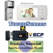 Kit Vídeo Porteiro Eletrônico Touch Color Lcd Ecp Fechadura