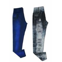 Kit 2 Calça Leg Jeans Fake Imita Jeans Plus Size Gg,g1 E G2