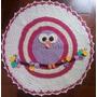 Tapete Corujinha Coruja Infantil Redondo Crochê Com Flores