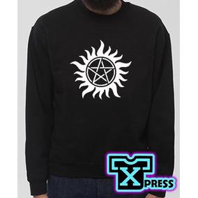 Sudadera C/logo Hoodie De Supernatural Estrella Fuego Winche