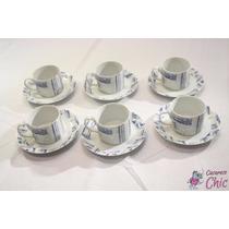 6 Xicaras De Cha Em Porcelana Vista Alegre Azul Branco Cchic