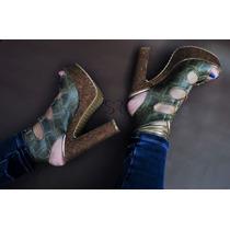 Zapatillas Sexys Altas Moderna Tacones Color Esmeralda Olivo