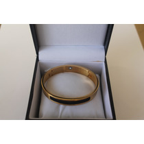 Bracelete Montblanc Ouro Dourado Detalhe Preto