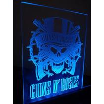 Guns And Roses Placa De Led Decorativa 15x20cm