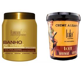 Banho De Verniz 1kg + Creme Alisante 850g Lola