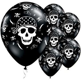 Globos Calaveras Piratas Negros 12 Pulgadas X 12 U Halloween