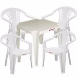 5 Mesas Com 30 Cadeiras Brancas Plástico Empilháveis