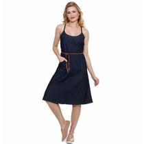 Vestido Feminino Jeans Detalhe Cinto Tam 40 Unica Peca