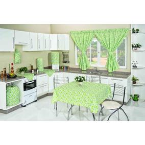 Jogo De Cozinha Estampado Floral Verde 10 Peças Cortina