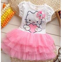 Vestido Fantasia Infantil Festa Hello Kitty Pronta Entrega
