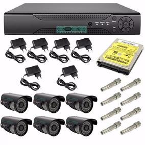 Kit Monitoramento Dvr 8 Canais P2p + 6 Câmera Infra + Hd