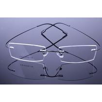 Armação Grau Oculos Metal Titanium Preta Sem Aro Titanio 525