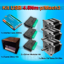 Kit Usb Mach3 3 Axis, Paso A Paso 4.5nm Driver 4a Cnc Router