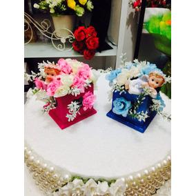 Souvenirs Bautismo Nenas Y Varones Con Flores Angelitos