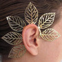 Ear Cuff Brinco Carnaval Dourado Folhas Gigantes