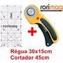 Kit Patchwork Cortador Circular + Régua 30x15 Scrapbook
