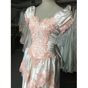 Vestido De Novia O 15 Años Blanco Y Rosa Con Encaje Bordado