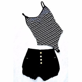 Conjunto Crooped Body +short Jeans Balada Festa