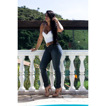 Calça Jeans Oppnus Feminina Cós Médio Skinny C/ Cinto 3169