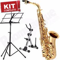 Kit Saxofone Alto Laqueado Sa501 Eagle Mib Loja Lançamento