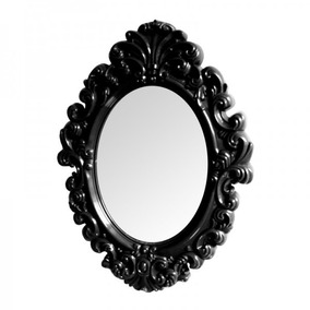 Espelho De Parede Preto Grande Plastico Oval Princess