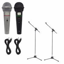 2 Microfones Profissionais + 2 Pedestal Com Cachimbo + Cabos
